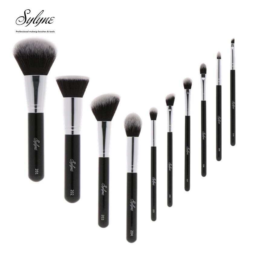 Sylyne Профессиональный набор кистей для макияжа высокого качества 10 шт. Кисточки для макияжа классический черный Ручка кисти для макияжа комплект инструментов.