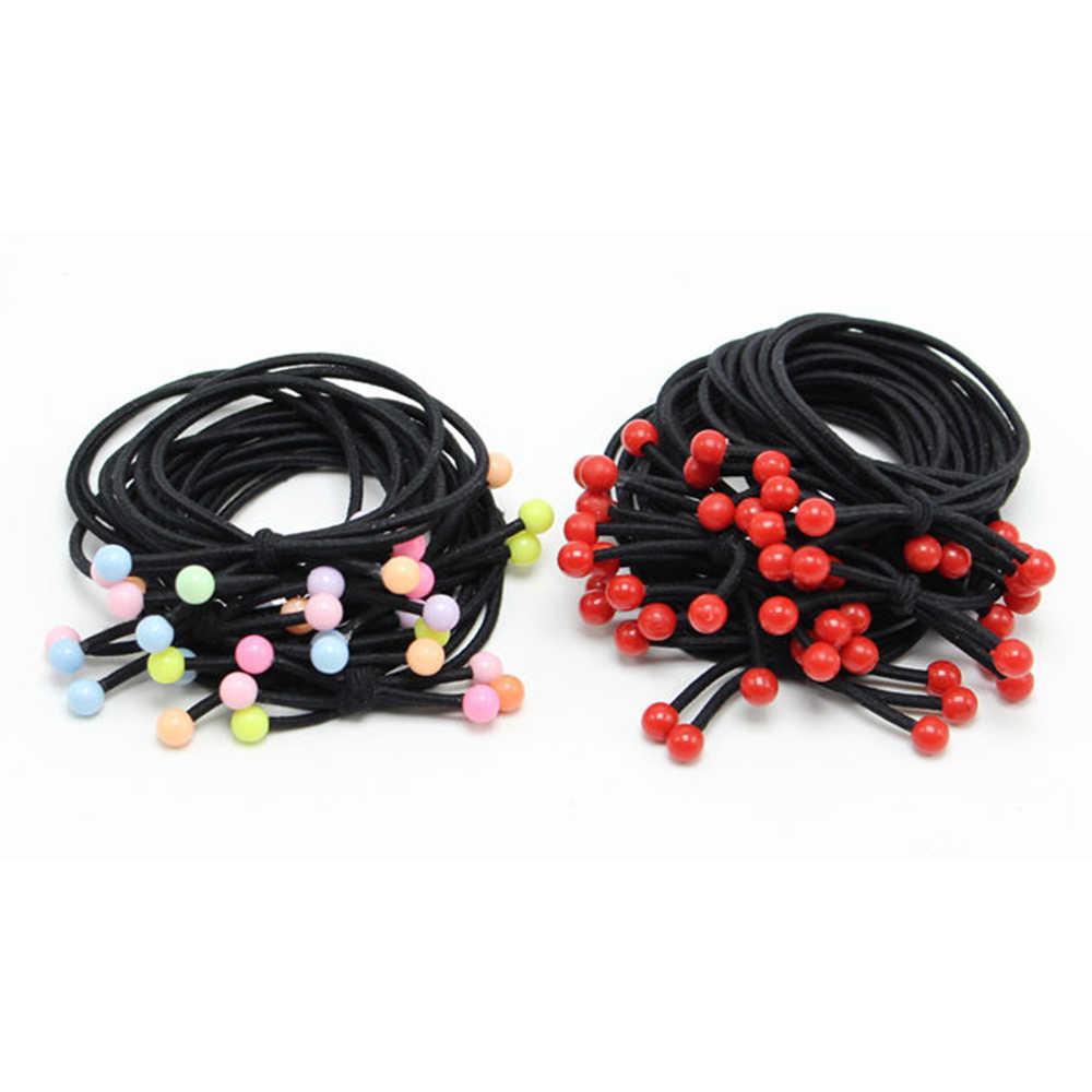 สาม-in-one แหวนผมผูกปมลูกปัดสีแดงวงผมสาวผมเชือก strong ดึงต่อเนื่องเชือก tie อุปกรณ์เสริมผม