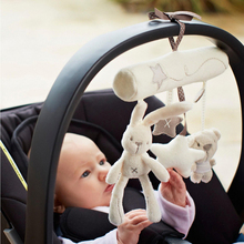 2016 Brand New Rabbit baby music hanging bed safety seat plush toy Hand Bell Multifunctional Plush Toy Stroller Mobile Gifts