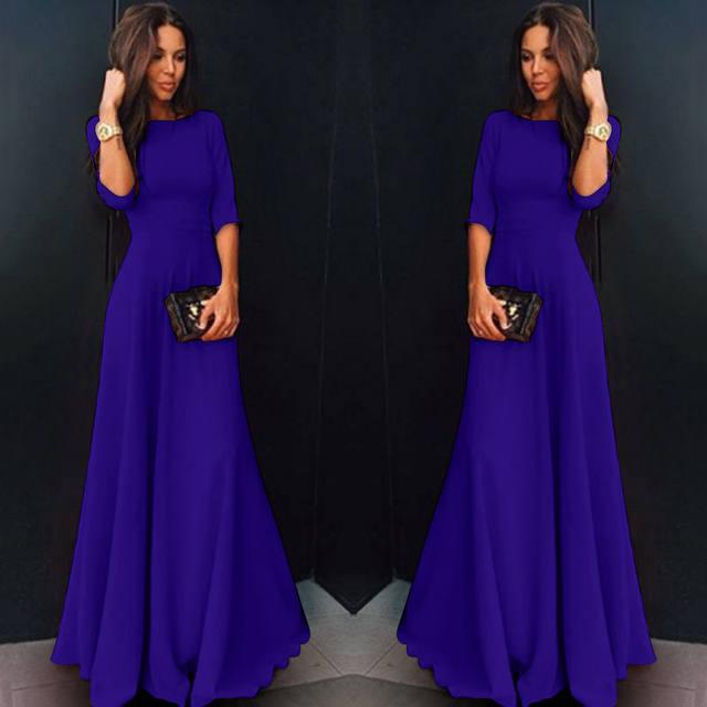 2018 Summer Sexy Elegant Women Half Sleeve Slim Empire O-neck Vestido Evening Formal Party Prom Long Maxi Dress Plus Size S-2XL 20