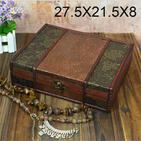 27.5*21.5*8cm Retro desktop book finishing wood Princess jewelry box storage box with European style wooden boxes wooden boxes