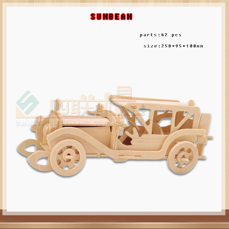 child 3D wooden car jigsaw puzzle wooden car jigsaw puzzle toy kids IQ educational wooden toys for DIY handmade puzzles G-P017
