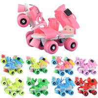 Hot Children Roller Skates Double Row 4 Wheels Adjustable Size Skating Shoes Sliding Slalom Inline Skates Kids Gifts