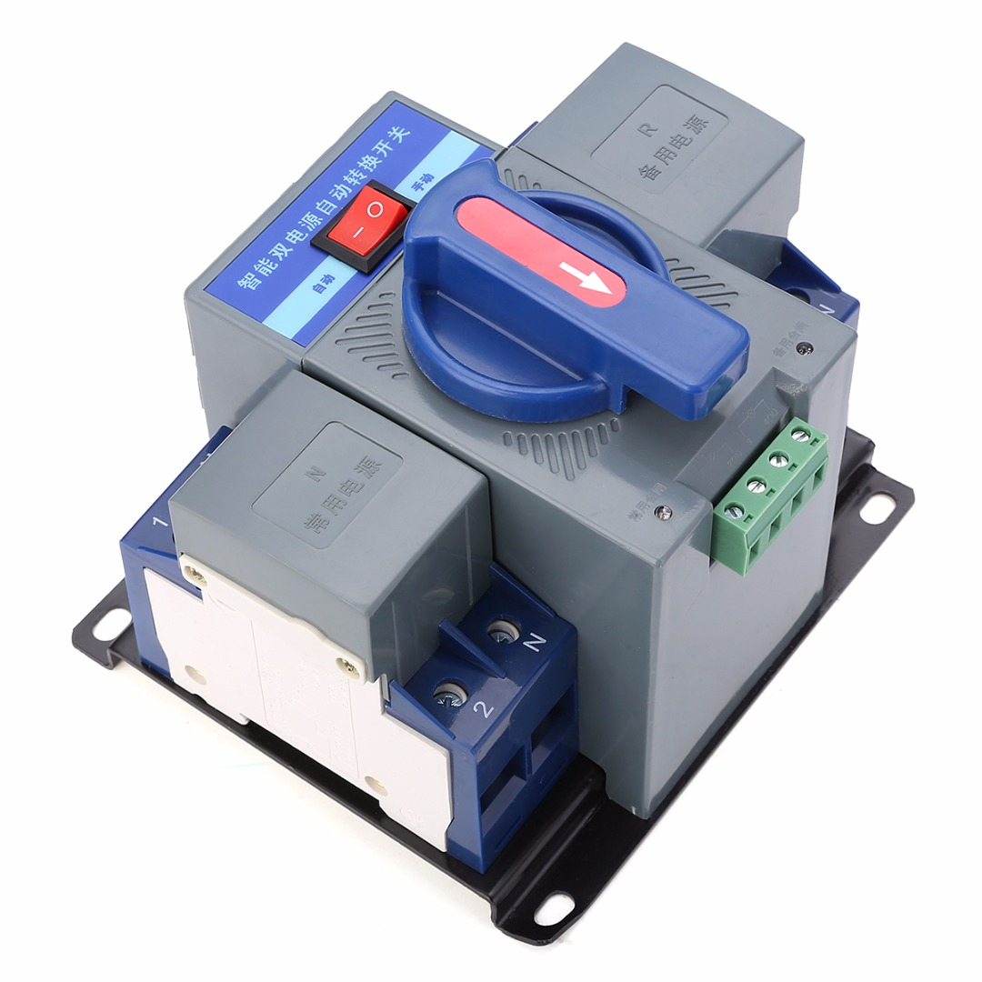 1pc Indicator Light Display Dual Power Automatic Transfer Switch 150mmx137mmx118mm 63A 2P 50HZ/60HZ 137 power