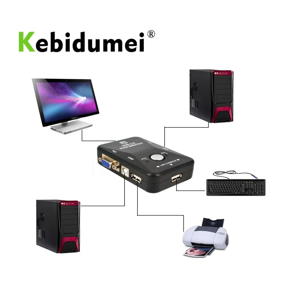 Kebidumei 2 Port Usb Kvm Switch Box Switcher Vga Svga Splitter Auto Controller Maus Tastatur 1920*1440 Großhandel Neueste Hochglanzpoliert Kvm-switches Computer-peripheriegeräte