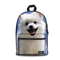 Customized Chihuahua Primary Schoolbag Pomeranian Printing Backpack for Girls Back to School Bag Cute Schoolbags 2019 New Bags