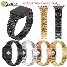 цена на Stainless Steel Strap for Apple Watch Band Rhinestone Diamond 38mm 42mm Smart Watch Metal Band for Apple Watch Series 4 3 2 1