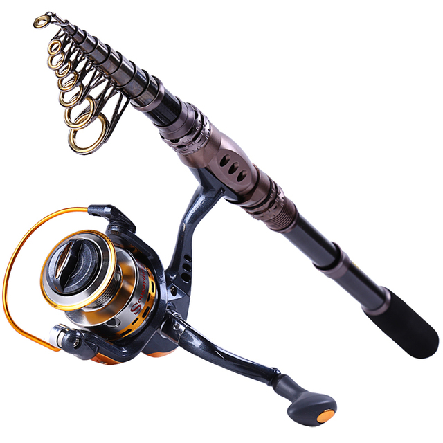 Saltwater Fishing Rod Reel Combos Spinning Portable Telescopic