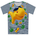 2016 New Fashion Fish Weed Print men t shirt cartoon animal printing t shirt Gray Color t-shirt Plus Size XS-6XL tops tee tshirt
