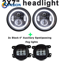 7 Round Led Projector Headlights Halo Ring And 30W 4 INCH LED Fog Light Driving Offroad