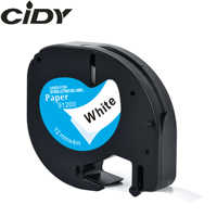 CIDY LT 91200 91330 91220 LT91200 Compatible LT 91201 12mm Black on white Paper tape Dymo Letratag Laminated Tape for LT-100H