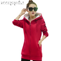 2016 Autumn Winter Tracksuit For Women Hoody Jacket Thicken Plus Velvet Long Sleeve Sweatshirt National Wind