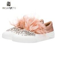 Prova Perfetto Luxury Diamond Feather Decor 2017 Autumn Girls Pink Black Flat Loafers Shoes Crystal Slip