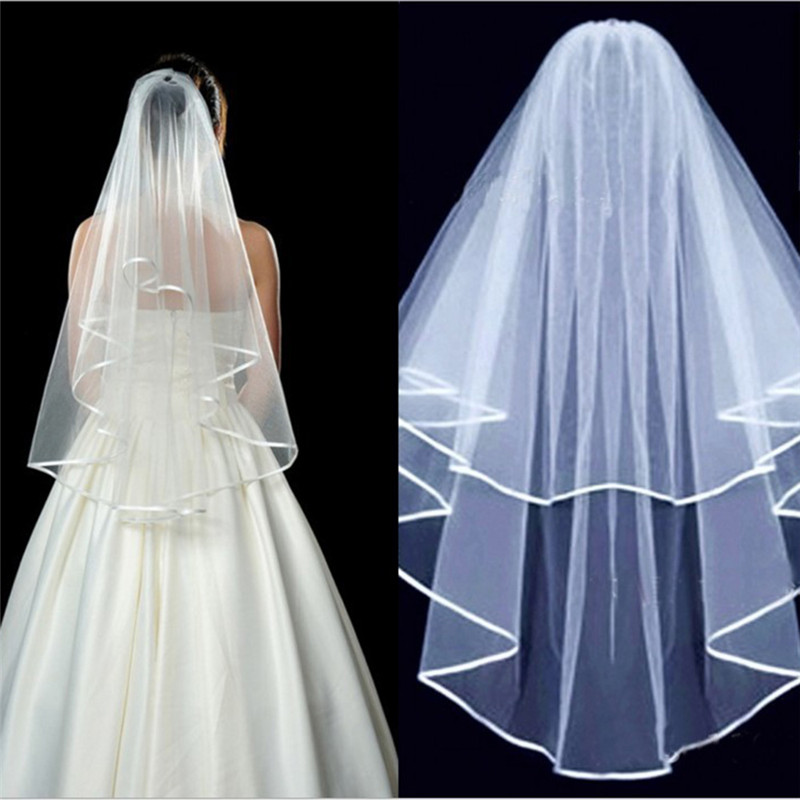 2018 Simple Tulle Wedding Accessories White Ivory Beige Two Layers bride Wedding Veils With Comb Ribbon Cheap Bridal Veil S3