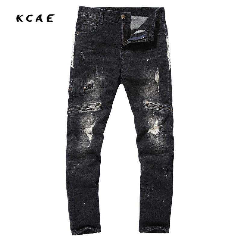 2017 New High Quality Mens Ripped Biker Jeans Cotton Black Slim Fit Motorcycle Pants Men Vintage Distressed Denim Trousers