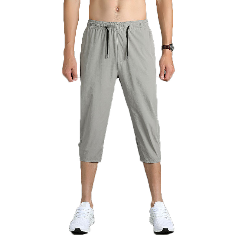 Mens Pants Workout-Trousers Joggers Calf-Length-Pants Fitness Brand Hip-Hop Grey