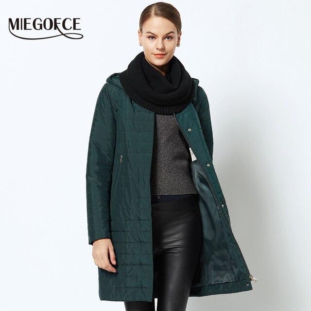 MIEGOFCE 2018 Весенняя-осенняя женское пальто куртка женская теплая ветрозащитная с капюшоном в европейском стиле пальто новая коллекция