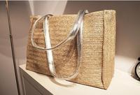 Fashion Straw Pu Handbags Straw Summer Beach Tote Big Shoulder Bag Purse Handbag Straw Beach Bag