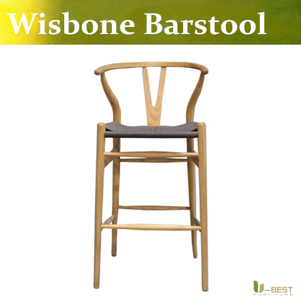 Free shipping U-BEST Wisbone barstool for bar high,kitchen bar chair counter stool ,Fork bone bar chair for solid ash wood free shipping u best kitchen