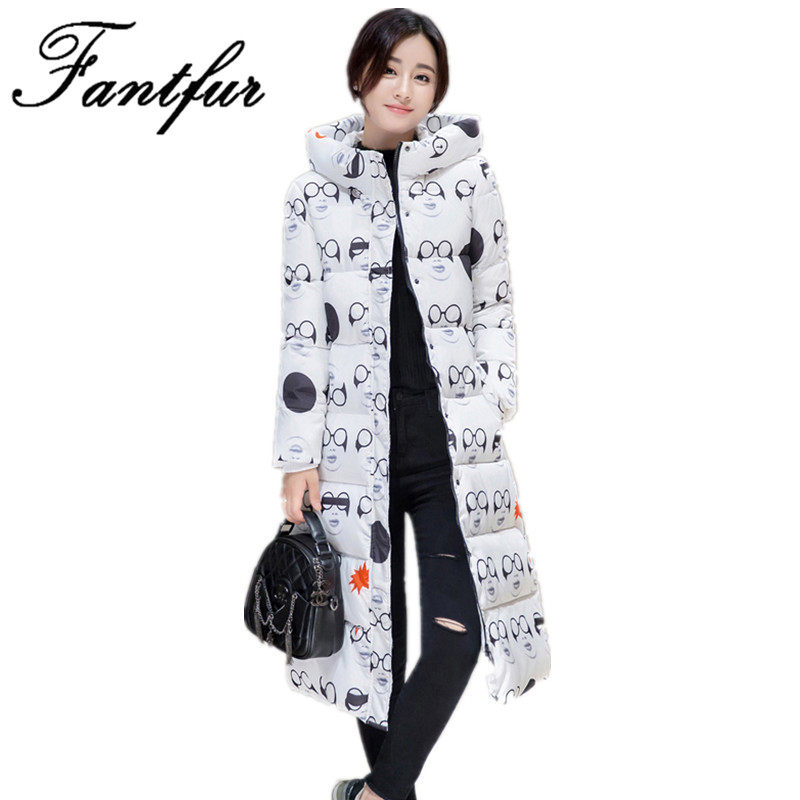 FANTFUR 2017 Female  Winter Jacket Women Cotton Padded Thicken Ultra Long over Knee Parkas Coat Hooded Female Slim  Jackets 2014 female new fashion waist thicken over knee parkas female long slim down jackets winter coat