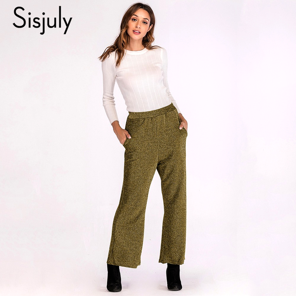 Sisjuly Women Spring Winter Vintage Work Loose Trousers Gray Olive Army Green Sequins Pocket Elastic Waist Long   Wide     Leg     Pants