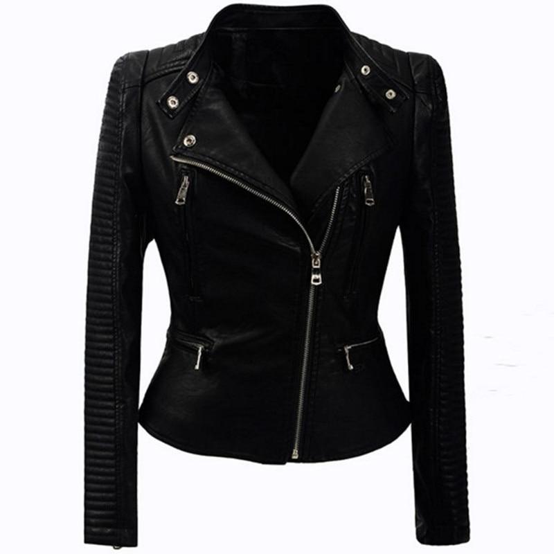 Autumn Winter Fashion Coats Women Zipper PU   Leather   Jacket Slim Fit Motorcycle Coat Ladies Outwear Black Basic Jacket Streetwear