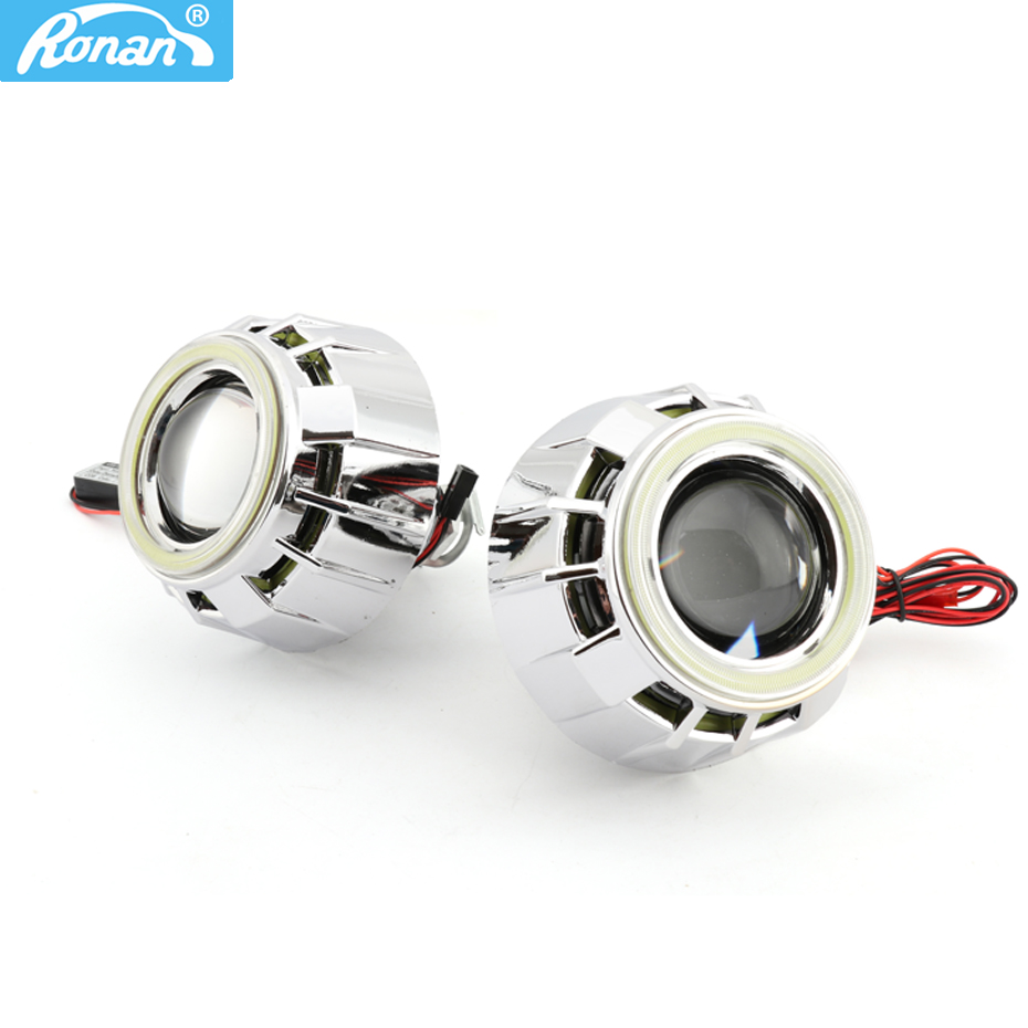 RONAN 2.5inch Double COB Angel Eyes Bi-xenon HID Projector headlight Lens LHD RHD use bulb H1 with H4 H7 adapter car styling free shipping iphcar lhd rhd auto driving front lens universal led ring angel eyes light mini projector headlight for h1 h4 h7