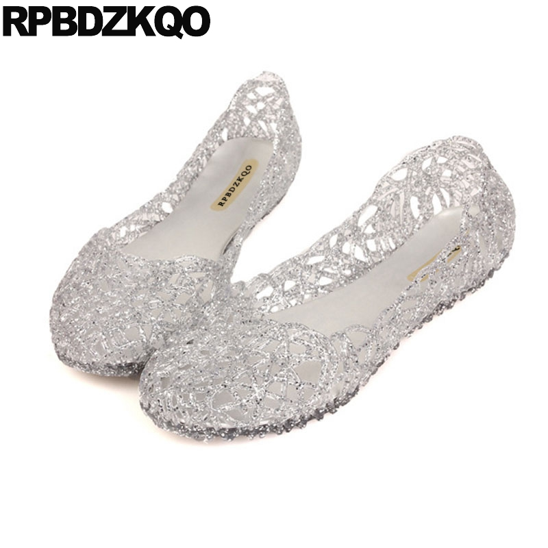 0b3f96921c5e2 Women Jelly Shoes Cage Closed Toed Sandals Transparent Gold Silver Pink  Cutwork Flat Slip On Ventilate Solid Round Toe Antiskid-in Women s Sandals  from ...