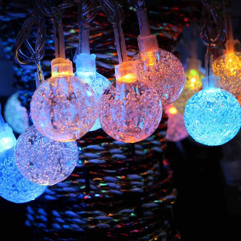 10M 50 LED String Light Crystal Bubble Balls Outdoor Home curtain Lamp decorative lights Christmas Wedding Decoration Warm white
