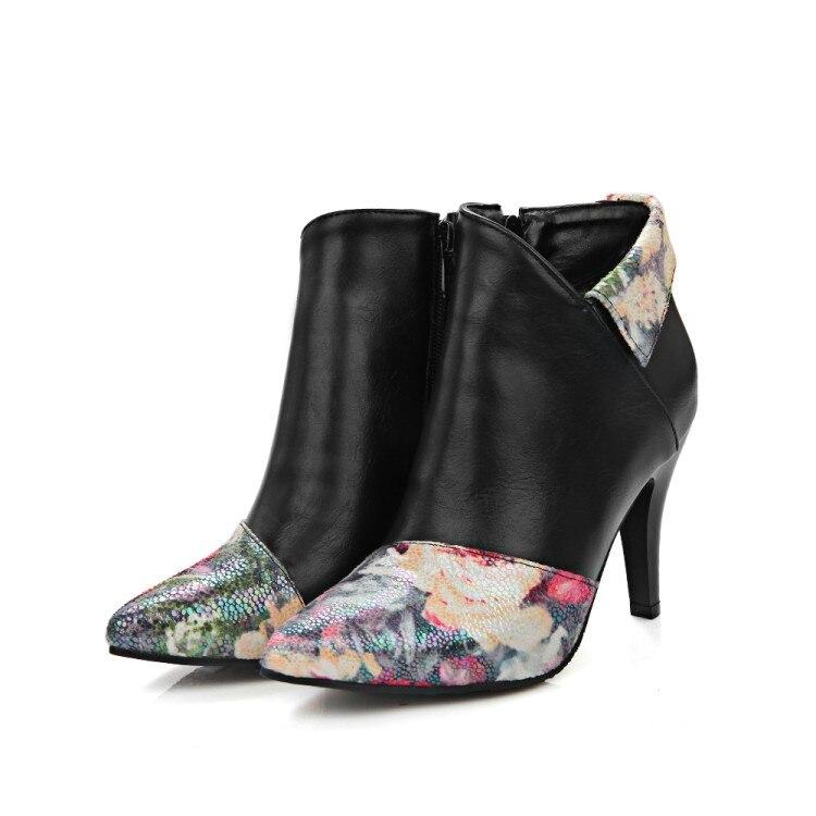 black Bottes Botas noir De A Talons Boucle 2017 Zip Fur Hiver Chaussures Femmes Nouvelle Poninted Mujer Mode 20 With Pour Sexy D'hiver Casual Cheville Fur Neige beige Beige Toe wpgqdCtx