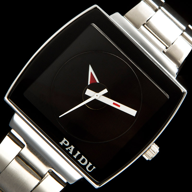 2018 Top Sale New Black Stainless Steel Quartz Wristwatch Men's Watch Fashion Style Cool!! C1097