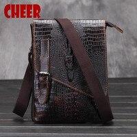 Male Bag Genuine Leather Bag Crocodile Pattern Men Shoulder Messenger Casual Leather Men S Bag Designer