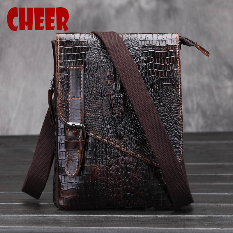 Male bag genuine leather Shoulder bag Crocodile pattern Men Messenger casual leather men' s bag designer handbags high quality