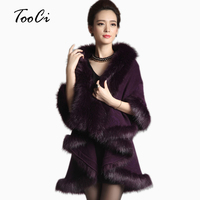 Women Cape Shawl Long Cardigan Sweater Luxury Faux Fur Collar Knitted Sweater Autumn Winter Capes And