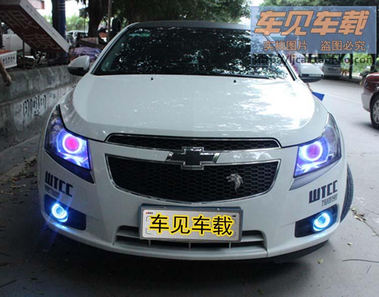 LED DRL Daytime Running Light COB Angel Eye, Projector Lens Fog Lamp With Cover For Chevrolet Cruze, 2 Pcs