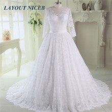 Elegant Long Sleeve Lace Wedding Dress 2019 Vestido de noiva Bride Gowns