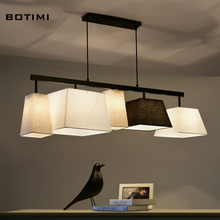 BOTIMI Американский кантри стиль ткань подвеска лампы lampadario с абажуром ткани длинный подвесной светильник для столовой, гостиной
