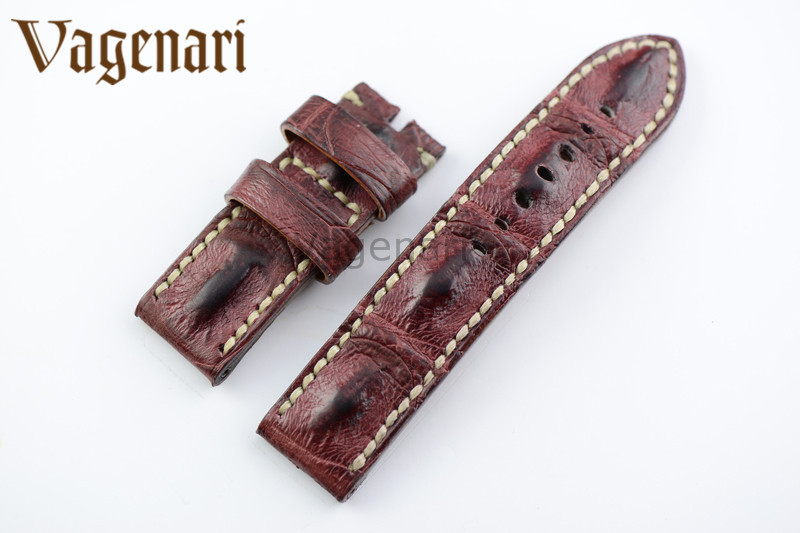A192 Luxury Purple Alligator Hornback Leather Ostrich Leather Watch Strap 24/24mm Watchband with Buckle  d 32 fashion purple red fish skin leather watch strap 24 22mm watchband with buckle