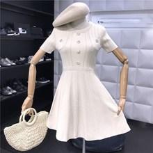 2019 Summer Elegant Knitting Short Dress Sweet Women Solid O Neck Sleeve Diamonds Button