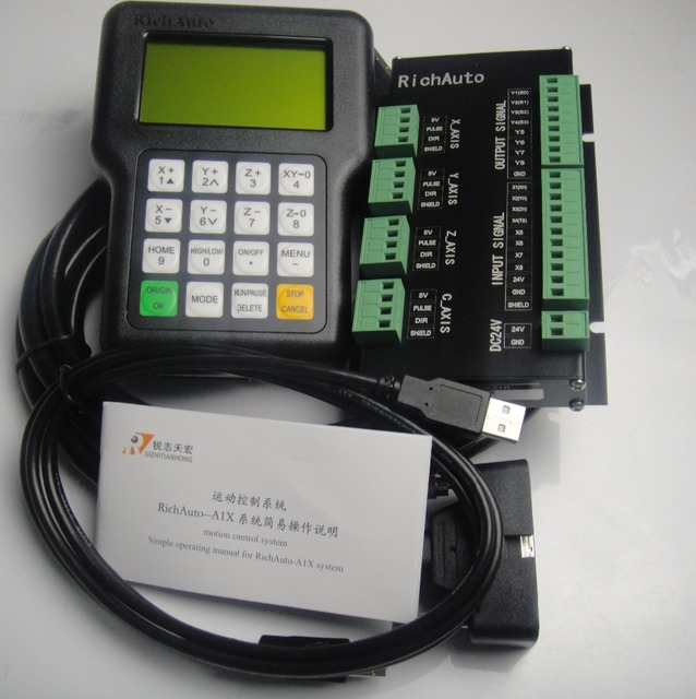 RICHAUTO DSP controller A11 complete set English letters panel for 3 axis cnc machine