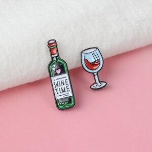 Эмалированные мини-броши для коктейлей, Винных Бокалов, стаканов красного вина и бутылок вина, для женщин и мужчин, подарок на вечеринку