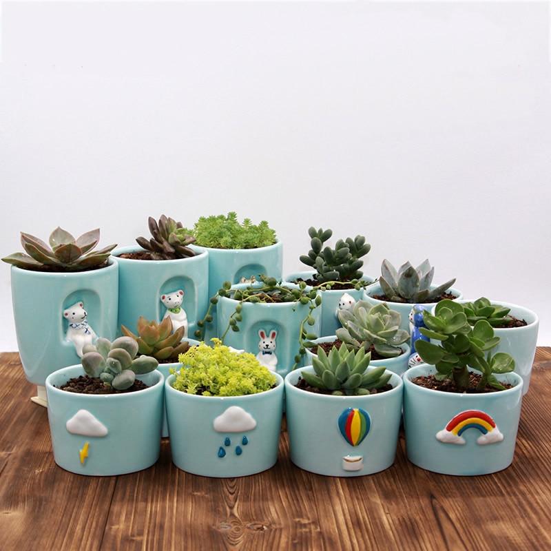 Cute Mini Small Ceramic Pots Creative Animal Flower Pots