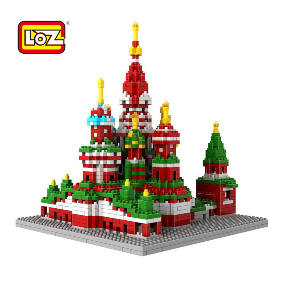 2018 LOZ mini diamond building block world Famous Places architecture 3D Russia Saint Basil's Cathedral model nanoblock for kid loz mini diamond building block world famous architecture nanoblock easter island moai portrait stone model educational toys