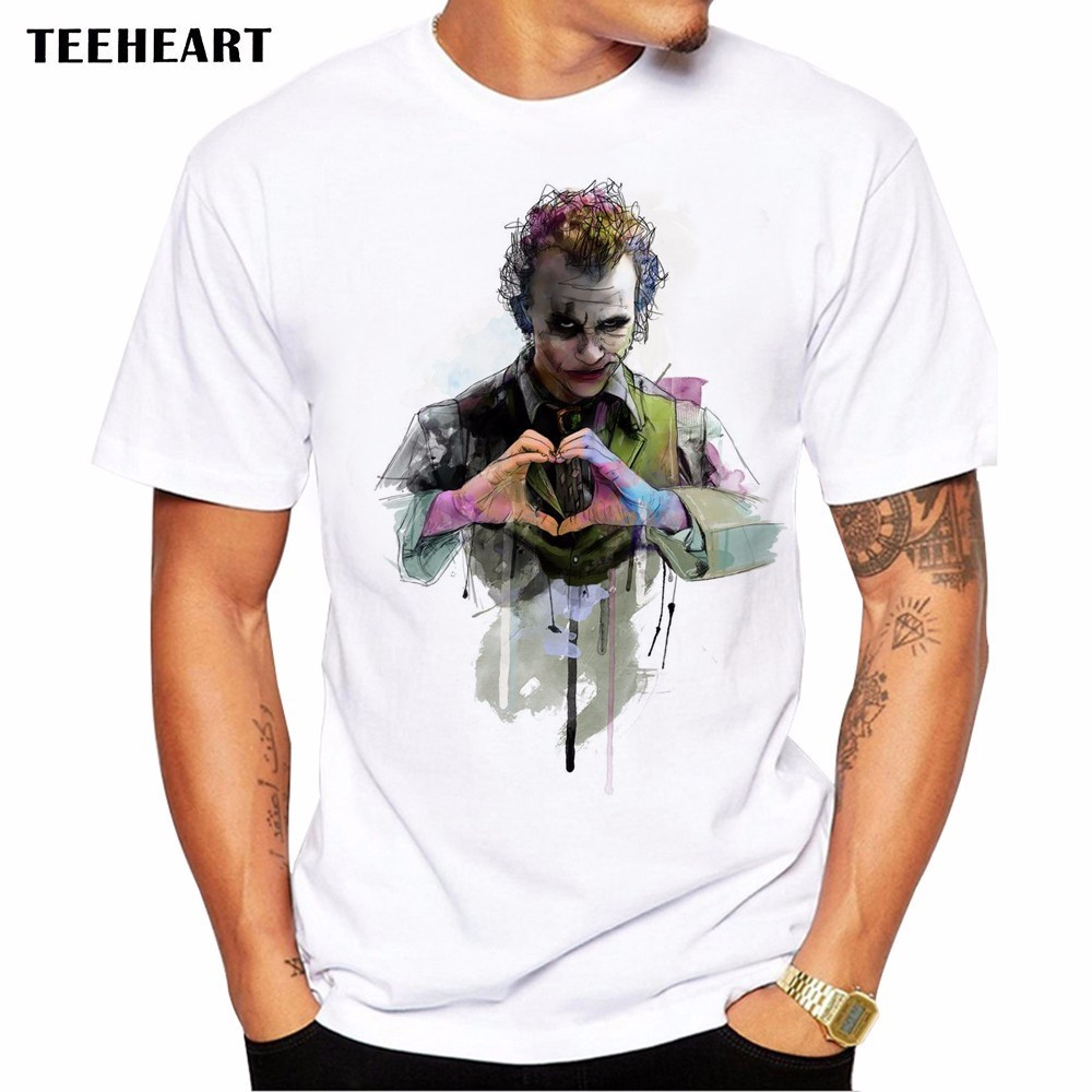 Suicide Squad T Shirt  Waterclolor Love From Joker  Novelty Funny Hip Hop Pop Tshirt Style Men Anime Printed Fashion TeeLa776