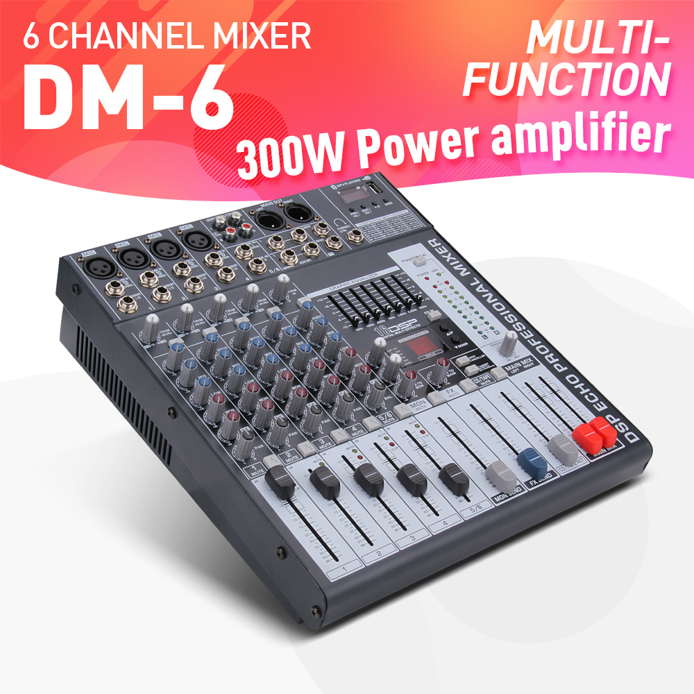 good quality clean sound 6 channels 300 watt power amplifie mixer digital audio mixing console. Black Bedroom Furniture Sets. Home Design Ideas