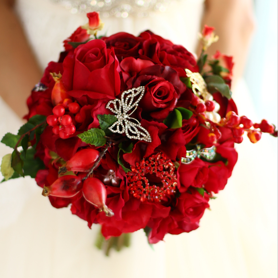 Bridal Red Rose bouquet, Artificial flowers brooch pearl crystal ...