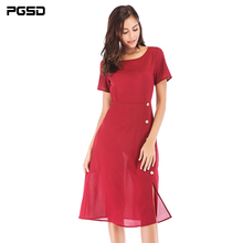 PGSD New Spring summer simple solid casual Office lady O-Neck Short-sleeved Button medium-length Red Dress Fashion women clothes