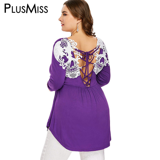674d63e507f PlusMiss Plus Size Autumn 2018 Back Skull Lace Tunic Tops Tee Long Sleeve  Sexy Backless Lace Up t Shirts Women Big Size T-Shirts