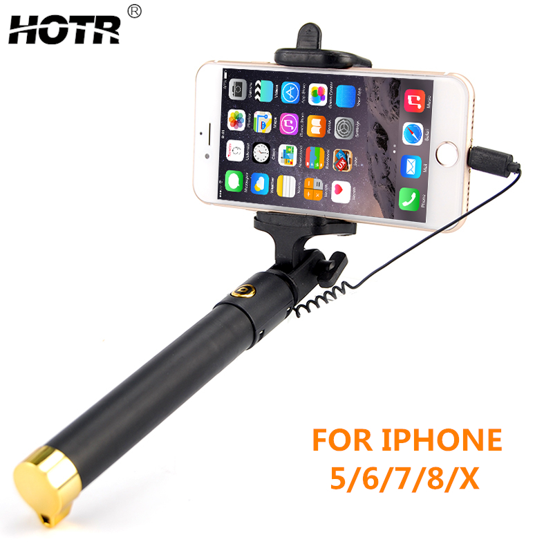 for iphone XS Max XR XS X Selfie Stick for iphone X 8 7 6 6s plus 5 5s Wired Selfie Stick Extendable Monopod for Lightning цена 2017