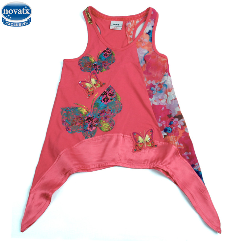 novatx H2886 Retail girls dresses nova kids wear summer emboidery butterfly fashion girls clothes kidsclothes baby dresses girls